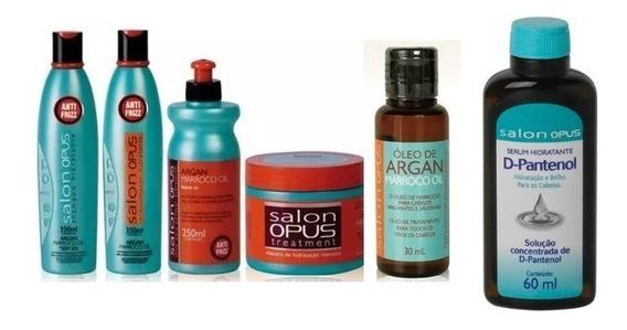 Kit Com 5 Produtos Salon Opus Argan + Serum D Pantenol