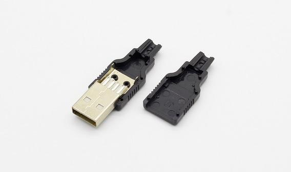05 Pçs Plug Conector Usb Macho Para Solda