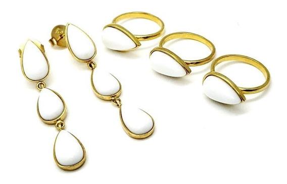 Conjunto 3 Anéis E Brincos Gotas Banho Ouro 18k 782 783
