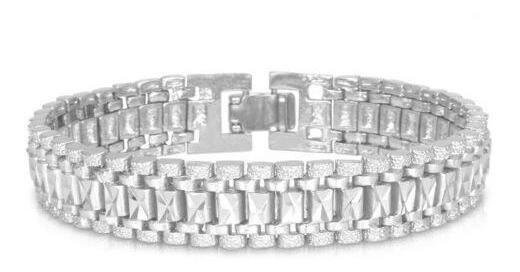 Platinum Plated - 12 M M Grueso Enlace Cadena Pulsera 1-0339