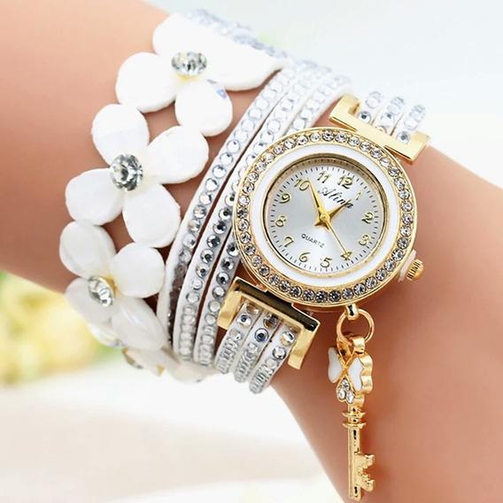Relógio De Luxo Com Cristal Pulseira Detalhe Com Flor