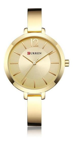 Relógio Feminino Dourado De Pulso Curren Pulseira Metálica