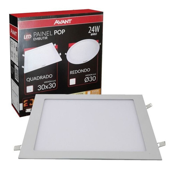 4 Plafon Led Quadrado 24w Painel Embutir Slim Avant