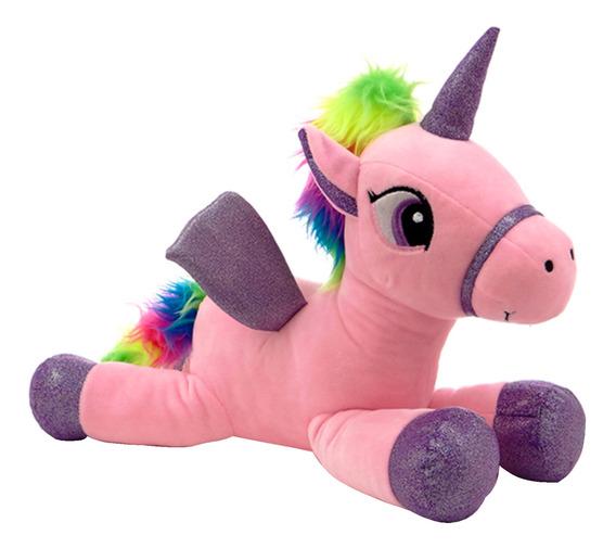 Peluche Unicornio Echado 45 Cms 3 Colores Phi Phi Toys