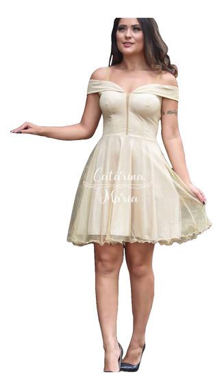 Vestido Debutante Festa Curto Preto Dourado Rodado Brilhoso