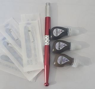 Kit Basico De Microblading Inductor Agujas Y Pigmentos