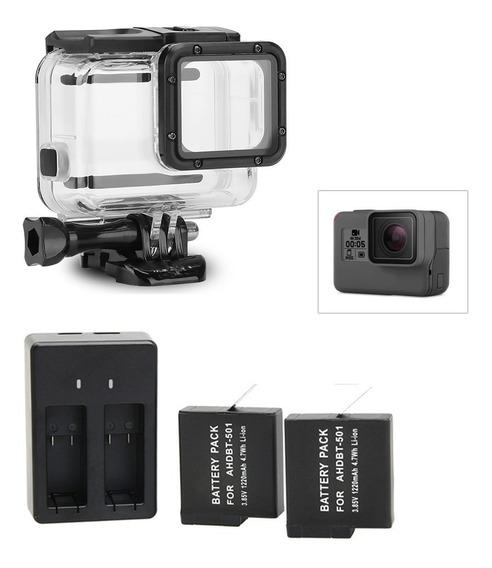 Kit Gopro 7 Estanque Super Suit Carregador 2 Baterias Extras