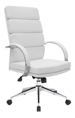 Imagen 1 de 3 de Silla de escritorio Newmo Zaphiro  blanca con tapizado de cuero sintético