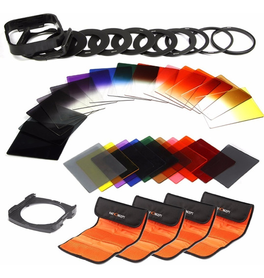 Kit Filtros Formato Cokin 24 Filtros Coloridos Nd Com Case