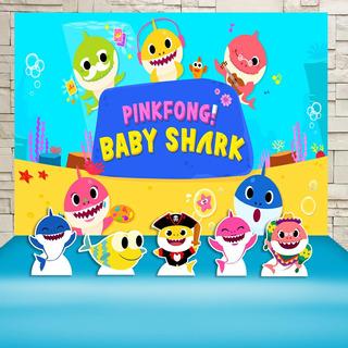 Kit Festa Infantil Pingfong Baby Shark Cenários Kit Prata