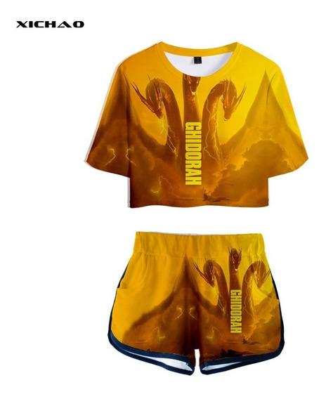 Godzilla Rey Del Monsters Corto Manga T - Camisa Pantalones