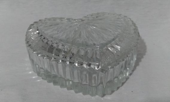 Antigo Porta Joias Formato Coração Vidro Trabalhado- Nº7626n