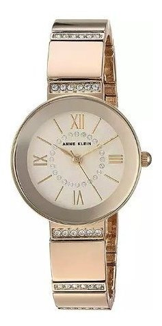 Relógio Analógico Anne Klein Swarovski Crystal 3190-chgb Feminino - Dourado / Bege