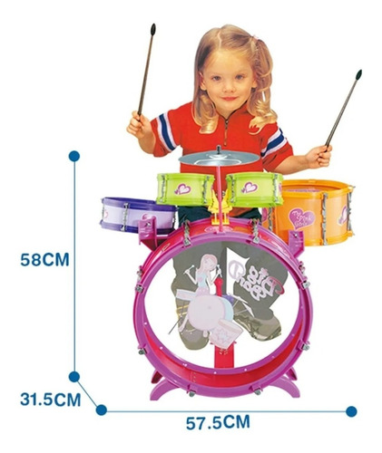 Bateria Musical Niña 5 Tambores Juguete