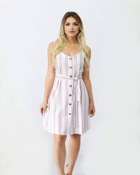 Vestido Linho Lilás Lavanda Botão E Cinto Listras Listrado