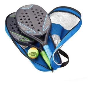 Kit 2 Raquetes + Bola Tênis De Praia Beach Tênis 35mm Bolsa
