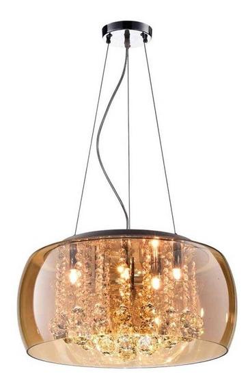 Luminária Pendente Plafon Cristal Soho Bella Ambar + 5 Lâmp