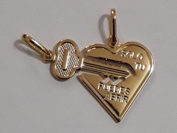 Pingente Chave E Coração Cara Metade Folheado Ouro 18k Nfe