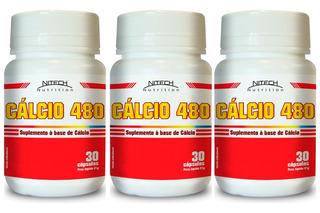 Kit 3x Cálcio 480 - 30 Cápsulas - Nitech Nutrition Atacado