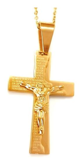 Collar Cruz Padre Nuestro Jesus Acero Y Oro Lam.14k