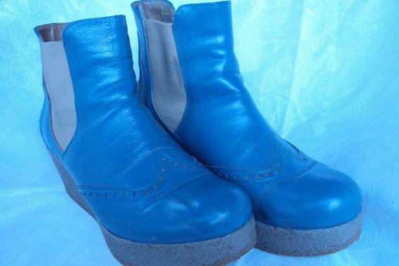 Borcegos Mujer Azulinos Numero 37 Con Plataforma*rebajados!!