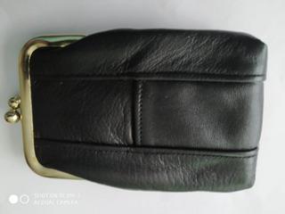 Monedero De 100% Piel De Ternera Color Negro