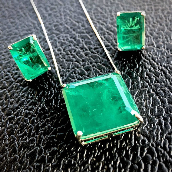 Conjunto Colar Brinco Fusion Premium Verde Semi Joia