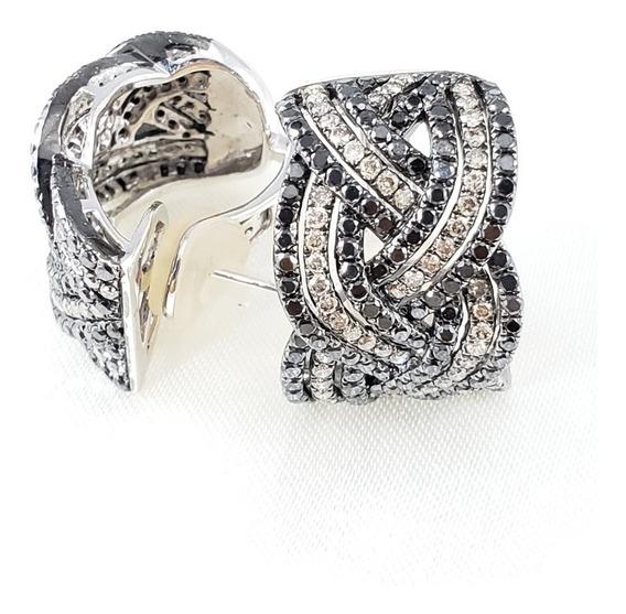 Brincos Pavezão De Ouro Branco Cravejado Diamantes Extras