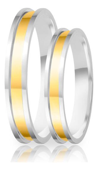 Alianças De Namoro Prata 950 Polida Com Ouro 3.7 Mm