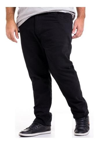 Imagem 1 de 5 de Calça Plus Size Preta Masculina Jeans Sarja Dark Com Lycra