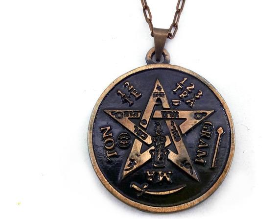 Colar Tetragramaton Pentagrama Esotérico 3 Cm