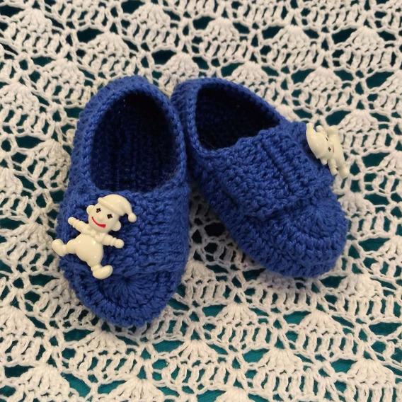 Sapatinho Em Crochê Tamanho P Azul