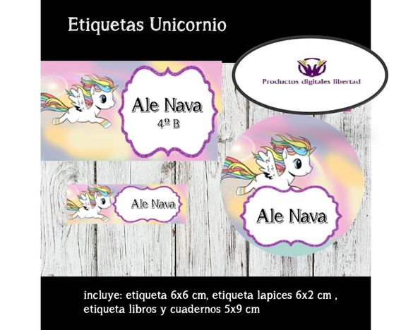 Kits Etiquetas Escolares Unicornios 3x1 . .