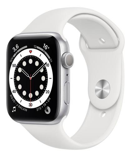 Imagen 1 de 8 de Apple Watch  Series 6 (GPS) - Caja de aluminio plata de 44 mm - Correa deportiva blanco