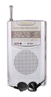 Radio Winco W-203 Am Fm Portatil Clip Cinto Auriculares Parl