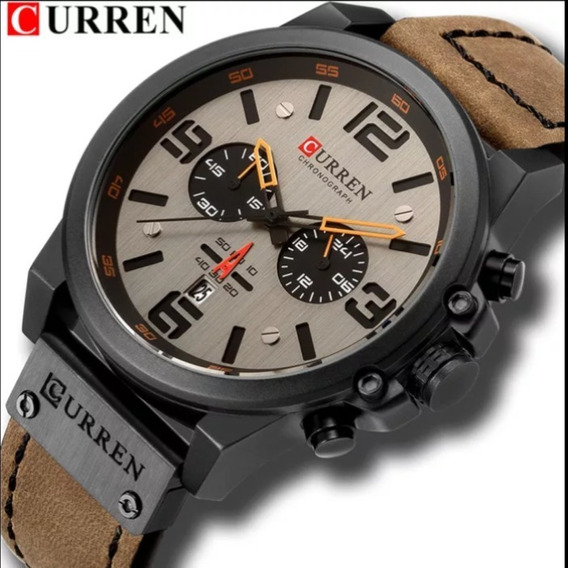 Relógio Masculino Curren 8314 Pulseira De Couro Prova D