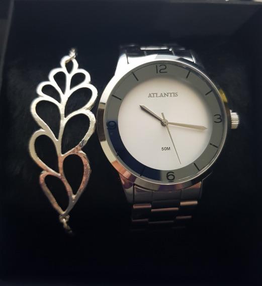 Relógio Atlantis Feminino Prata Com Pulseira E Caixinha