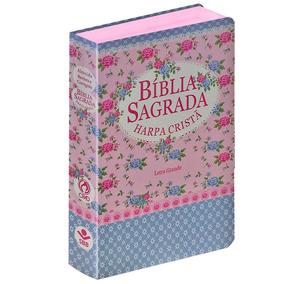 Bíblia Gd Com Harpa Letra Grande Popular Florida Tarja Azul