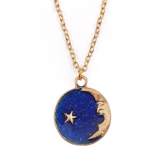 Céu Azul Estrelado Senhora Colar Delicado Feminino Pingente