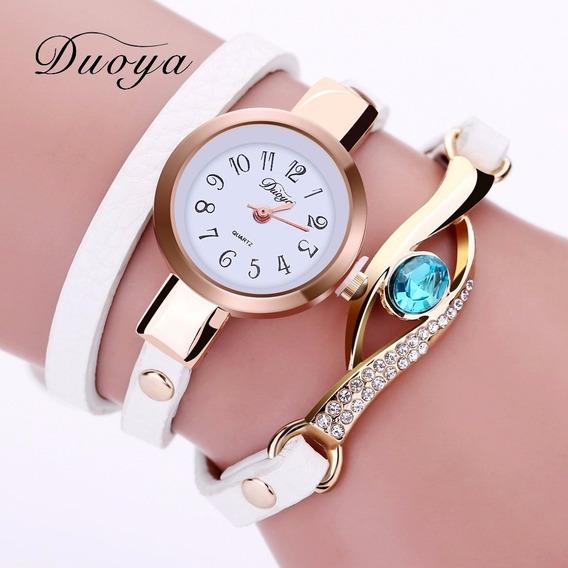 Relógio Feminino Geneva Dourado Pulso Couro Varias Cores