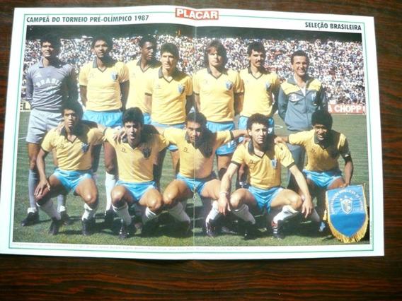 Poster Brasil Campeão Pré-olimpico1987 Edu Palmeiras Placar