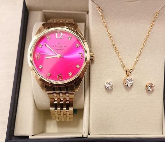 Relógio Feminino Champion - Cn26251j - Kit Semijoia Folheada