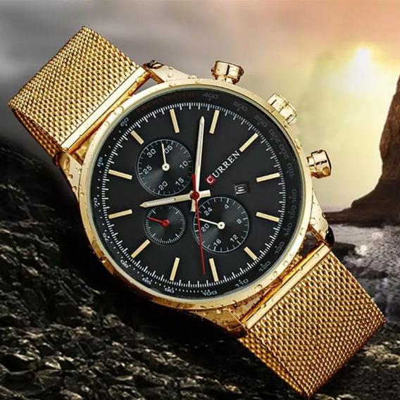 Relógio Analógico Dourado Todo Em Aço Curren 8227 Barato