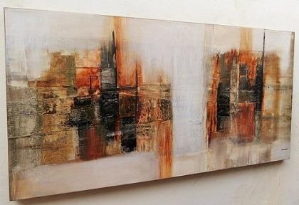 Quadro De Parede Tela Abstrata Luxo 120x60cm Sala Escritorio