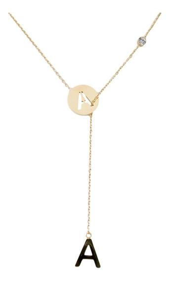 Collar Dije Letras Doble 2 Iniciales Y Cristal Acero Dorado Con Cadena