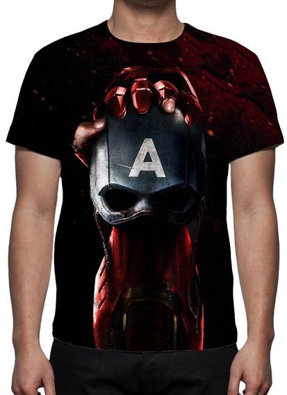 Camiseta Capitão América Guerra Civil - Frete Grátis