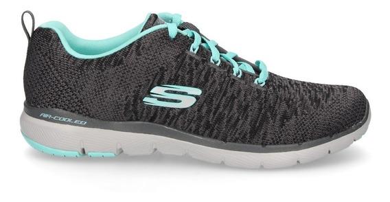 Zapatilla Skechers Running Mujer Flex Appeal 3.0 Gris Ras