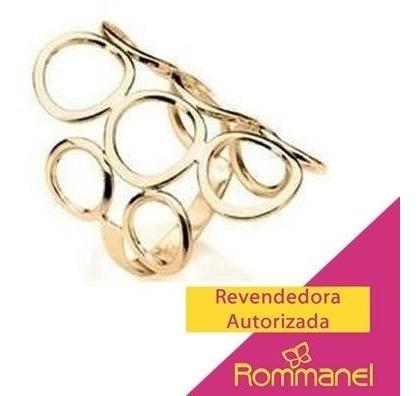 Anel Ouro Folheado Formado Círculos Vazados Rommanel 511048