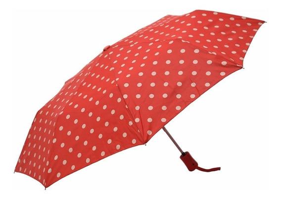 Paraguas Corto Automático Antiviento Rojo Lunares