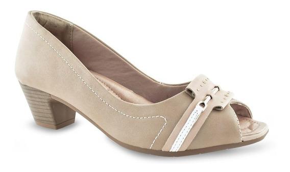 Peep Toe Comfortflex Salto Baixo Linha Conforto 1864304